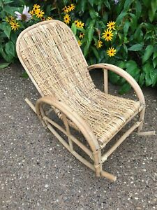 VTG Thonet Style Child's Bentwood Rocker Rocking Chair Antique Caned Seat & Back