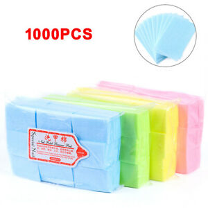 1000x Disposable Lint Free Nail Wipes Nail Art Gel Polish Remover Cotton Pads