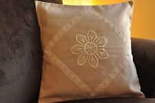 Cushion Cover Set with a white lace design (2 covers included)