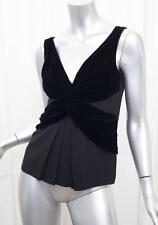 PRADA Womens Black Velvet Draped Sleeveless V-Neck Blouse Top Shirt 40/4 S