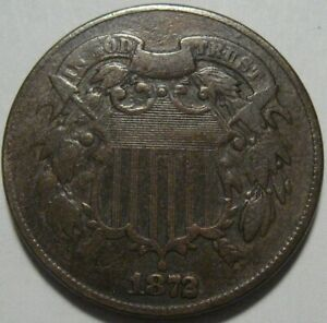 = 1872 FINE Two Cent Piece, KEY DATE, Nice Color & EYE Appeal, FREE Shipping