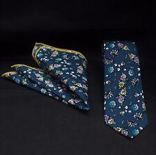 Men's Tie & Handkerchief Set Slim Blue Multi Floral Quality Cotton MTC16