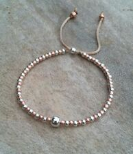 Silver and Rose Gold Ball Beaded Bracelet Adjustable Friendship Slider Stacker