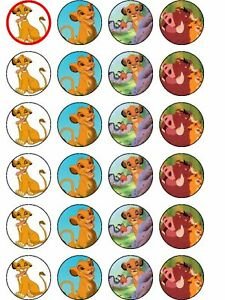24 X PRE CUT LION KING PARTY WAFER PAPER CUP CAKE TOPPERS