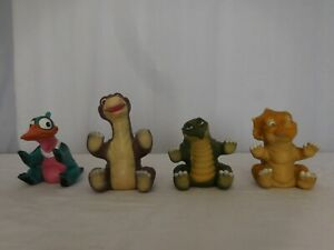 1988 The Land Before Time PETRIE Amblin Puppet Pizza Hut Rubber  All 4 Puppets