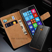 Genuine Real Leather Slim Wallet Flip Case Cover For Nokia Lumia Models