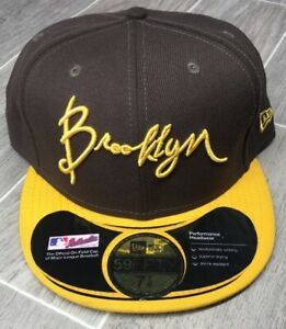 New Era Brooklyn Hat Brown & Yellow Fitted Cap Size 7-7/8 *see description*