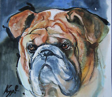 Original Aquarell Hund Dog 21x24 cm    Papier, Aquarell