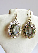 Sterling Silver Oval Mystic Topaz Clear Crystals Dangle Earrings