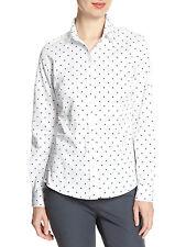 4995-1 Banana Republic Womens White & black Diamon Print Tailored Shirt Sz 0 $64