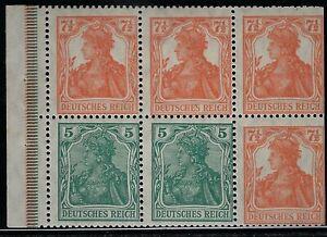 "GERMANY  1919  ""GERMANIA Booklet Pane Broschurenfenster:   H-Blatt 22,   Mint/NH"