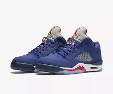 Nike Air Jordan 5 V Retro Low (GS) Knicks Size 4Y Royal Blue/Orange 314338-417