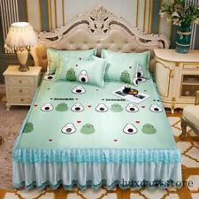 Ice Silk Bed Skirt Pillow Case 3 Piece Folding Mat Summer Soft Mat Bedding Sets