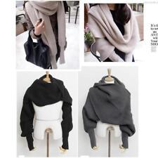Women Men Winter Warm Soft Knitting Wool Scarf With Sleeve Wrap Shawl