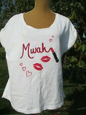 LADIES VERY MWAH LIPSTICK KISS T-SHIRT SIZE 18 - 20