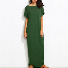 Fashion Women Short Sleeve Round Neck Casual Solid Plus Long Maxi Dress Kaftan