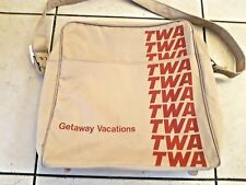 Vintage  TWA AIRLINES CLOTH FLIGHT SHOULDER TOTE BAG 70s