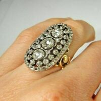 New Design 3.10ctw Rose/Antique cut Diamond 925 Sterling silver Ring