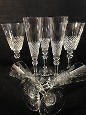 Georgian Cut Crystal Goblets 7 Pcs 5 Flute 2 Water Wine Fine Diamond Grid Clear