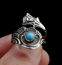 Unique Jewelry Natural Turquoise 925 Sterling Silver Ring Size 8