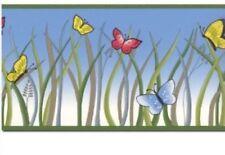Butterfly, Grass, Blue Sky Frolic Wall Paper Border Butterflies 15 Ft
