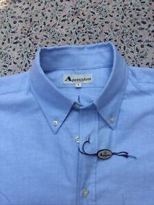 AQUASCUTUM - Pale Blue - Cotton Oxford - Button Cuff - Shirt - L - New With Tag