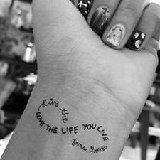 Temporary Tattoo Black Love the Life You Live Live the Life You Love TT380