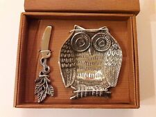 Owl Tidbit Server / Bowl with Spreader New In Box by Star Home Silver Tone