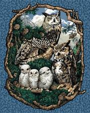 OWL fabric panel WHO GIVES A HOOT OWL QUILT TOP wallhanging NEW CP37512