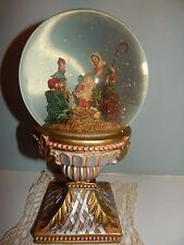 Beautiful Nativity Pedestal Waterglobe - Mary Joseph Jesus Wise Men