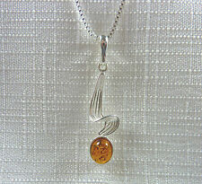 Genuine Cognac Baltic Amber Solid 925 Sterling Silver Pendant & Chain