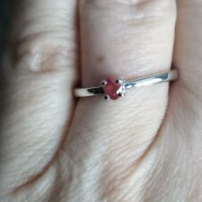 100% GENUINE 0.23CT SONGEA RED SAPPHIRE STERLING SILVER RING N -O / 7