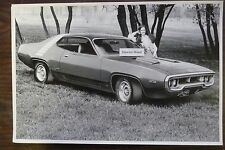 "1972 Plymouth Roadrunner 400 Hardtop 12 X 18"" Black & White PICTURE"