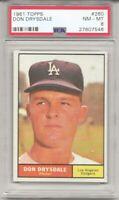 1961 Topps #260 DON DRYSDALE,  PSA 8 NM-MT, HOF, LOS ANGELES DODGERS, L@@K !