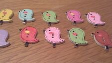 10 Misto Bottoni Colorati In Legno Bird 25 mm x 22 mm
