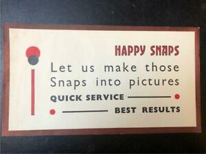 ORIGINAL 1920s UNUSUAL TYPOGRAPHIC SMALL SHOP POSTER - HAPPY SNAPS
