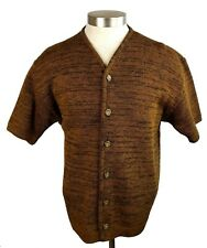 New listing 1960s Vintage Penguin Short Sleeve Brown Wool Cardigan Sweater L