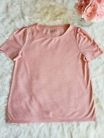 Ann Taylor LOFT Short Sleeve Casual Shirt SZ M Pink Striped