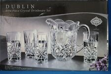 SHANNON BY GODINGER DUBLIN CRYSTAL 5 PIECE SET PITCHER AND 4 GLASSES-NEW IN BOX