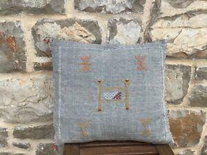 Moroccan sabra silk faded grey cushion cover 50cm square