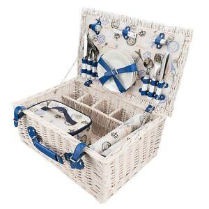 Weiden Picknickkorb + Besteck + Geschirr + Picknickdecke + Picknick Zubehör
