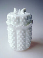 Fenton milk glass butterfly lid hobnail candy jar scalloped edge