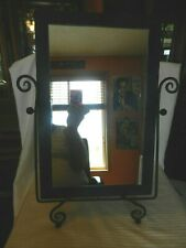 Vintage Tabletop Adjustable Vanity Mirror Black Metal, Antique Patina