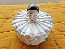 Bonbonnière/boite ronde PIERROT vintage en céramique polychrome