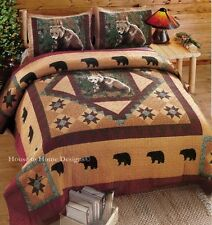 MOUNTAIN BEAR ** King ** QUILT SET : LODGE CABIN BLACK BROWN GRIZZLY RUSTIC