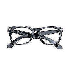 Black Frame Glasses Specs Geek Nerd Retro 60s Austin Powers Fancy Dress