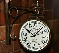 HOME DÉCOR COLLECTIBLE VICTORIA STATION LONDON 1747 DOUBLE FACE WALL CLOCK WC 01