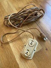 Vintage Bakelite GEM 3 Prong Extension Cord - Brown  Approx 10' Feet