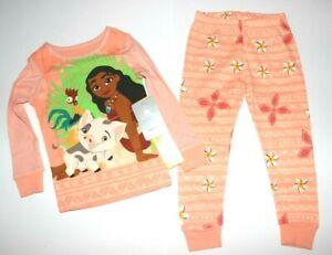 Girls Toddler Pajamas 3T or 4T Disney Princess Moana 2 pc pajama set cotton NEW