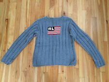 Polo Jeans Co Ralph Lauren Sz XL Kids RL Flag Sweater - Gray Ribbed Pattern